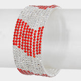 """ Provoke"" Red & Clear Rhinestone 10 Row Spiral Bracelet On Silver Tone"