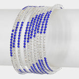 """ Provoke"" Blue & Clear Rhinestone 10 Row Spiral Bracelet On Silver Tone"