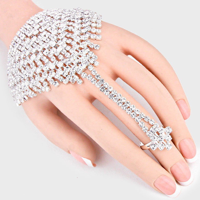 """Killer Combo"" Clear  Rhinestone Hand Combo On Silver Tone"
