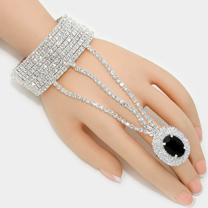 """ Midnight ""  Rhinestone & Black Oval Crystal Hand Combo On Silver Tone"
