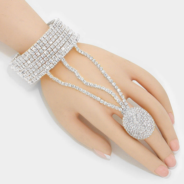 """ All the Bling""  Rhinestone Pave Crystal Hand Combo On Silver Tone"