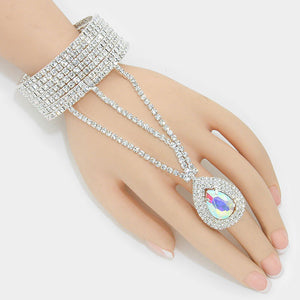 """ Angelic Iridescent""  Rhinestone AB Iridescent Teardrop Crystal Hand Combo On Silver Tone"