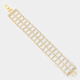 """ Glitter "" Ladder style Clear Crystal & Rhinstone Clasp bracelet on Gold"