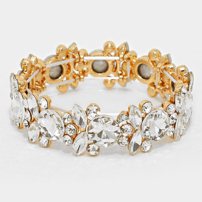 """Lovely Me""  Budding Floral Clear Crystal Stretch Bracelet On Gold Tone"