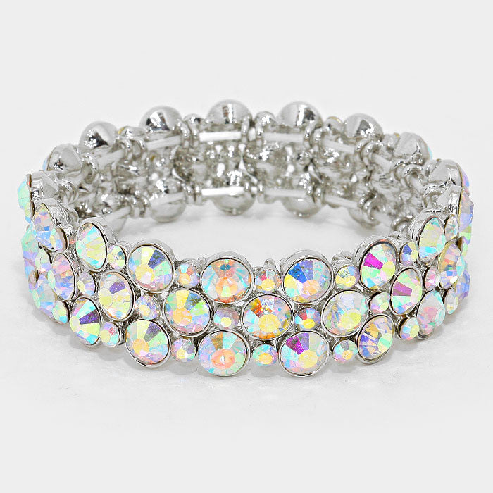 """ Bubbly Time"" Bubble  AB Iridescent Crystal Stretch Bracelet On Silver Tone"