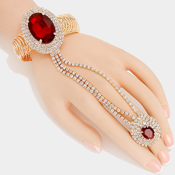 """ Ravishing "" Oval Medium Red Crystal Rhinestone Hand Combo On gold Tone"