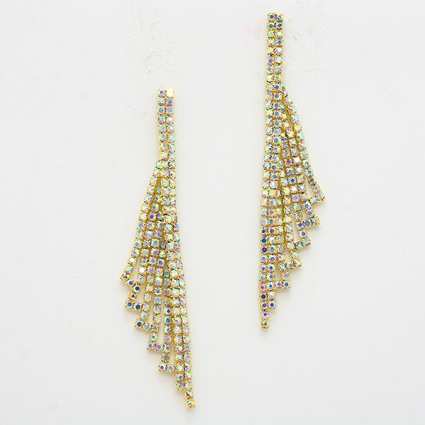""" Winged"" Sexy Iridescent AB Rhinestone Fringe Earrings Gold Tone"