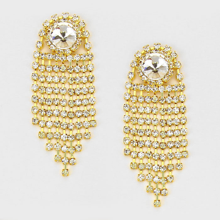 """ Fire Cracker"" Rhinestone Fringe Tassel Earrings Gold Tone"