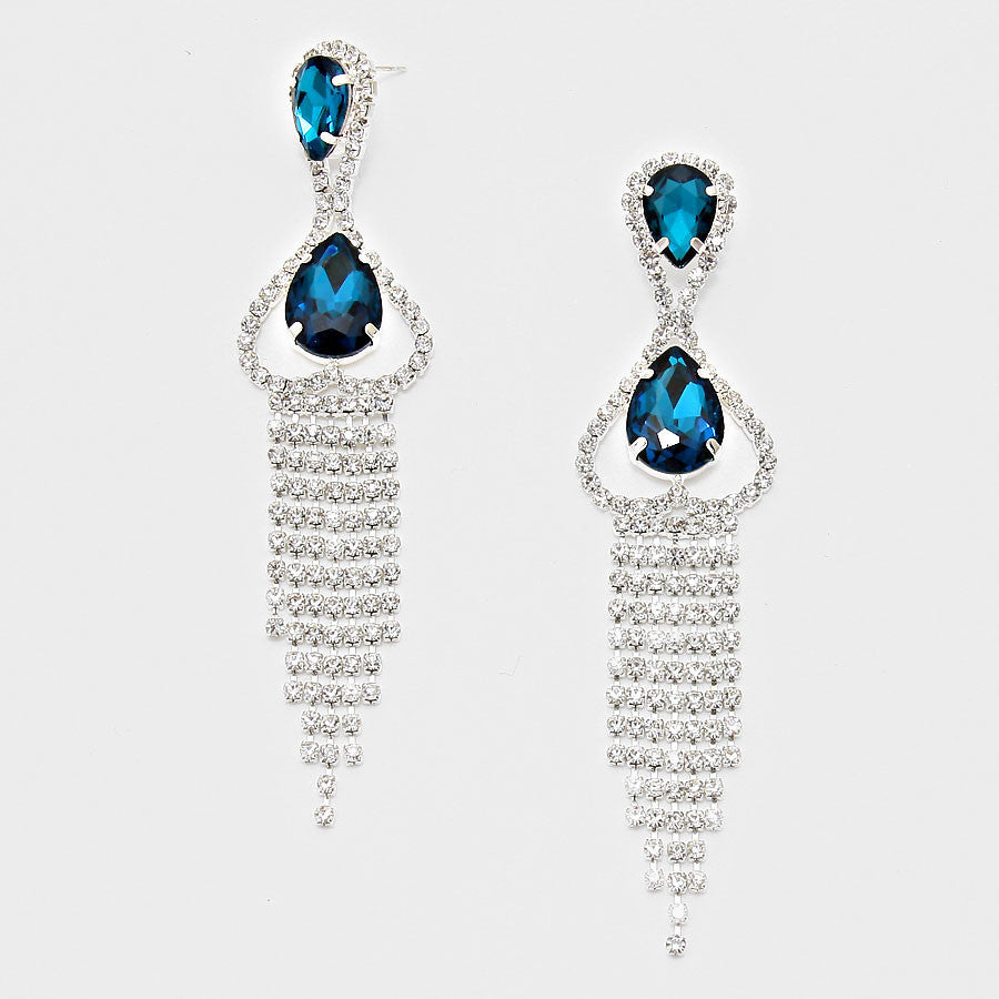""" Mermaid "" Lovely Rhinestone Fringe Earrings With Blue Accent Silver Tone"
