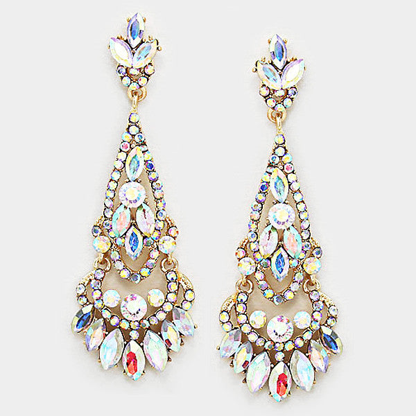 """ Radiant"" AB Iridescent Crystal Chandelier Earrings Gold Tone"