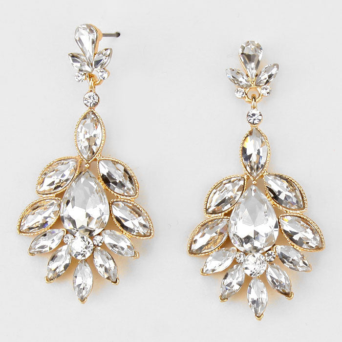 """ Petal "" Clear Crystal Earrings Gold Tone"