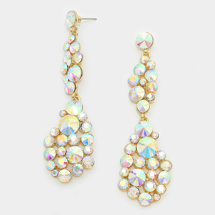 """ Bubble Drop"" AB Iridescent Crystal Earrings Gold Tone"