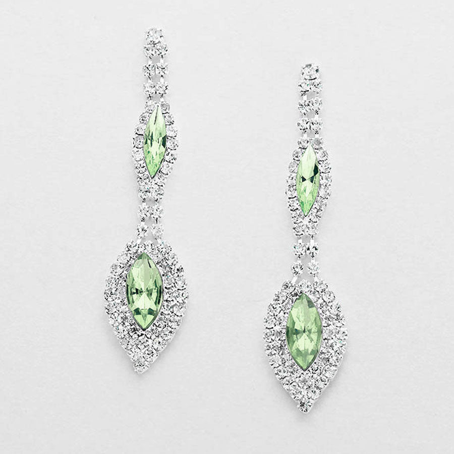 """ Alluring"" Double Drop Lite Green Crystal Rhinestone Chandelier Earrings Silver Tone"