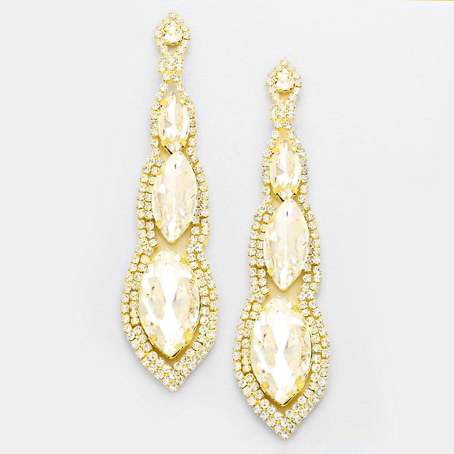 """ Abyss"" Triple Drop Clear Gold Crystal Chandelier Earrings Gold Tone"