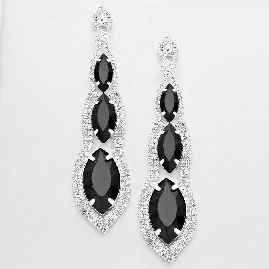 Abyss triple drop midnight black crystal chandelier earrings silver abyss triple drop midnight black crystal chandelier earrings silver tone mozeypictures Image collections