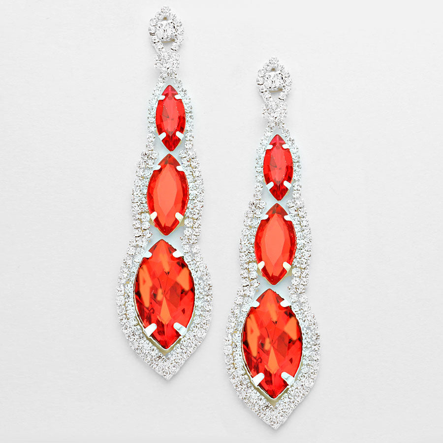 """ Abyss"" Triple Drop Red Crystal Chandelier Earrings Silver Tone"
