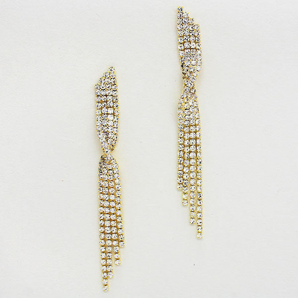 """ Center Stage""  Clear Rhinestone Earrings Gold Tone"