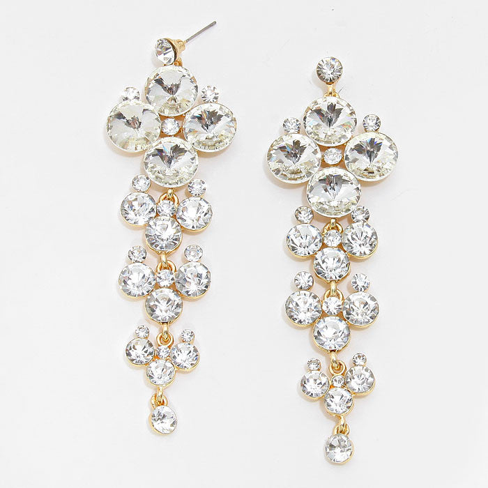 """ Bubbly Time "" Sexy Clear Crystal Earrings Gold Tone"