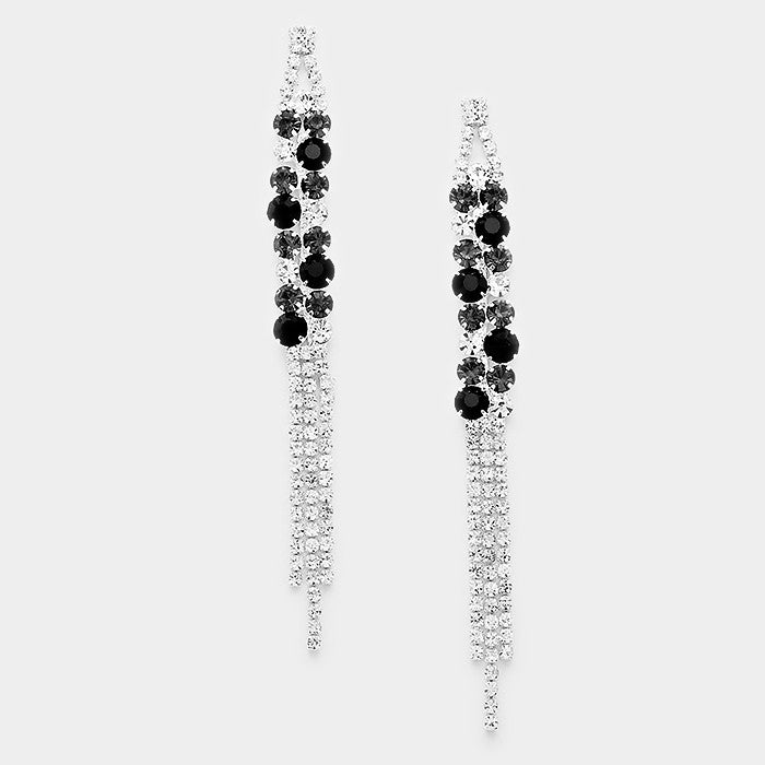 """ Lucky "" Lovely Rhinestone Fringe Earrings With Black Accent Silver Tone"