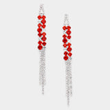""" Lucky "" Lovely Rhinestone Fringe Earrings With Red/Orange Accent Silver Tone"