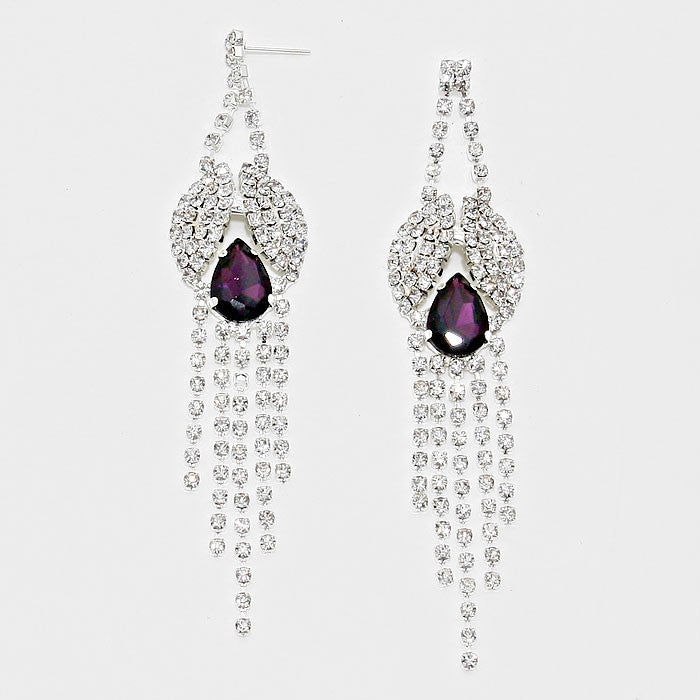 """ Peacock "" Lovely Rhinestone Fringe Earrings With Purple  Accent Silver Tone"