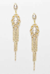 """ Sultry ""  Cutout Gold Rhinestone Fringe Chandelier Earrings Gold Tone"