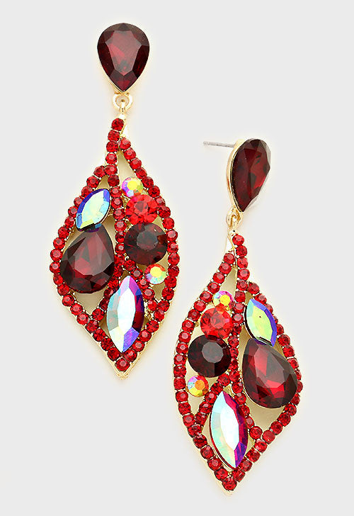 """ Sequin "" Sexy Ruby Red Rhinestone Iridescent Crystal On Gold Tone"