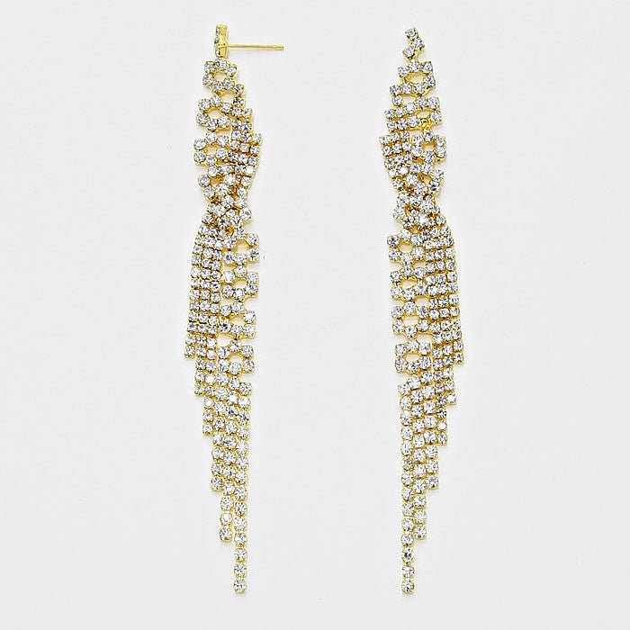 """ Ice "" Rhinestone Fringe Tassel Earrings Gold Tone"