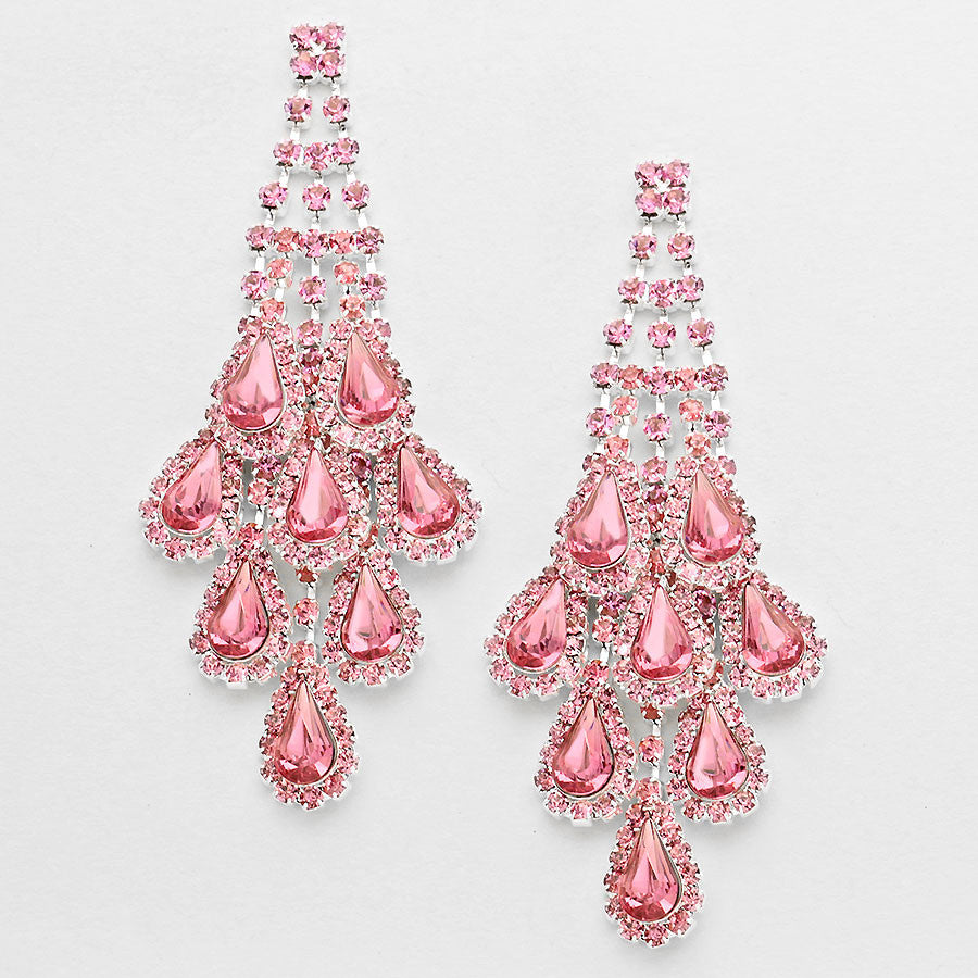 """ Opulent "" Pink Rhinestone Chandelier Earrings Silver Tone"
