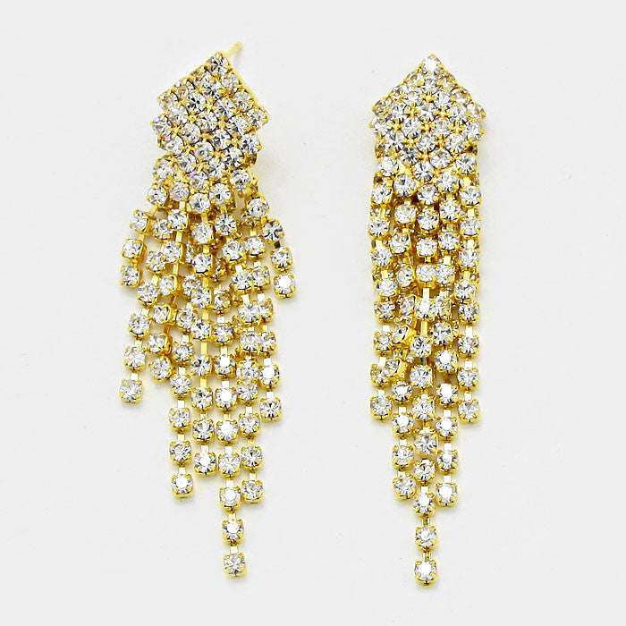""" Burst "" Rhinestone Fringe Tassel Earrings Gold Tone"