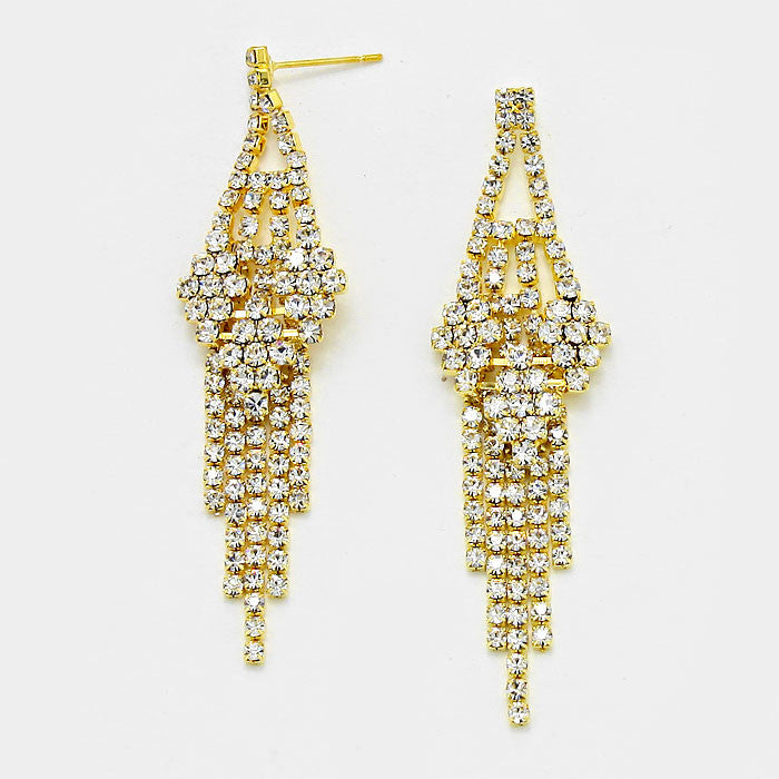 """ Allure"" Rhinestone Fringe Tassel Earrings Gold Tone"