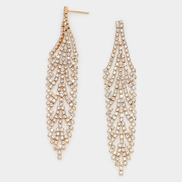 """ Demure "" Rhinestone Fringe Tassel Earrings Gold Tone"
