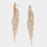""" Enchanting "" Rhinestone Fringe Tassel Earrings Gold Tone"