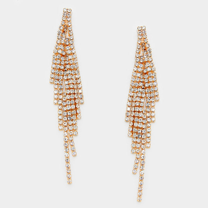 """ Flare"" Sexy Gold Rhinestone Fringe Earrings"