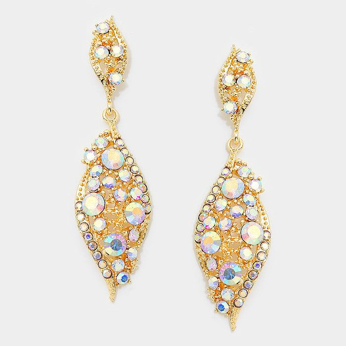 """ Everly"" Diamond Drop Iridescent AB Crystal Earrings Gold Tone"