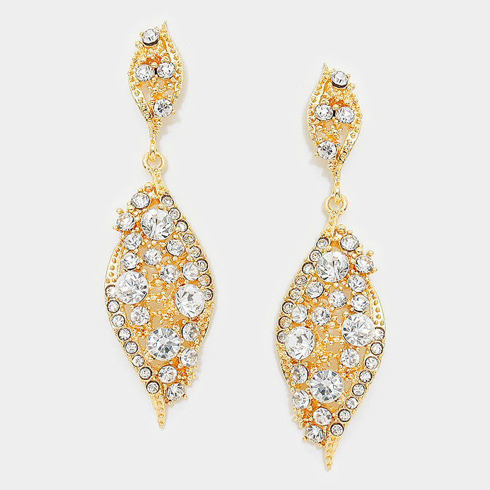 """ Everly"" Diamond Drop Clear Crystal  Earrings Gold Tone"