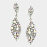 """ Everly"" Diamond Drop Iridescent AB Crystal Earrings Silver Tone"