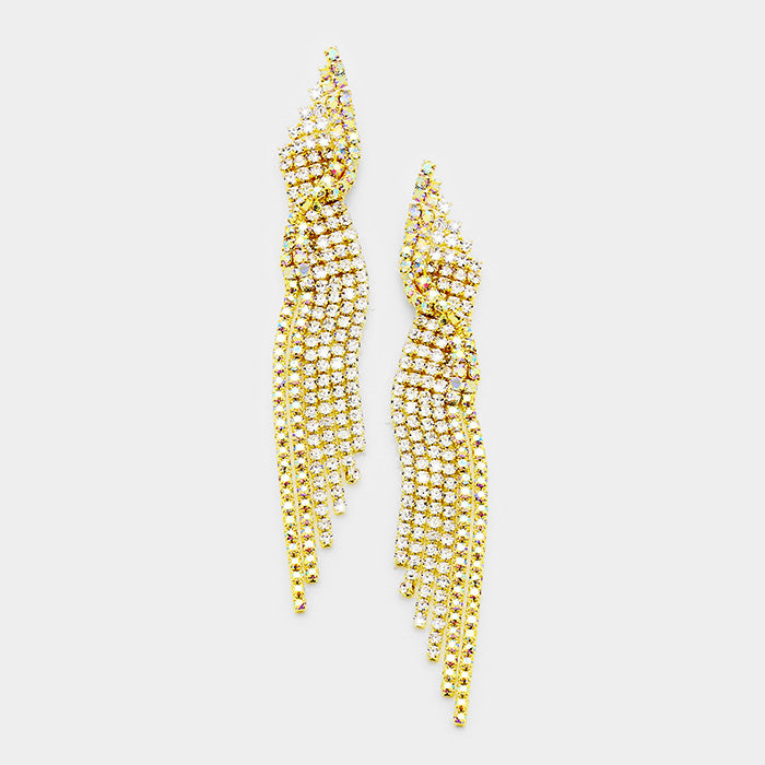 """ The Star "" AB Iridescent Rhinestone Twist Earrings On Gold Tone"