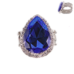 """ Elegant "" Sapphire Blue Crystal Rhinestone Stretch Ring on Silver Tone"
