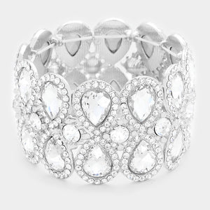 """ Lucky Girl "" Clear Crystal Stretch Bracelet on Silver Tone"
