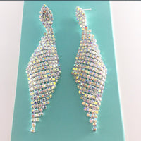 """ Flying High "" AB Iridescent Rhinestone Earrings On Silver Tone"
