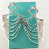 """ Peek A Boo "" Clear Rhinestone Chandalier Earrings On Silver Tone"