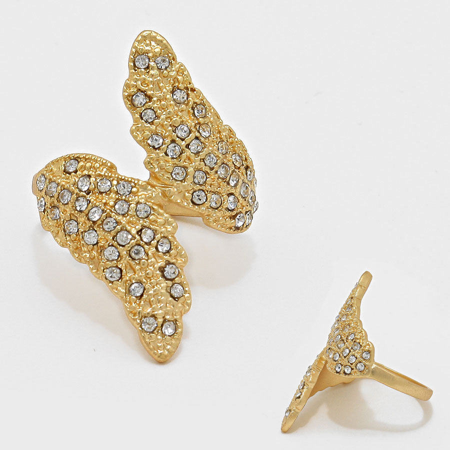 """ Rising Sphinx"" Winged Pave Clear Crystal Rhinestone Pave Cocktail Ring On Gold Tone"