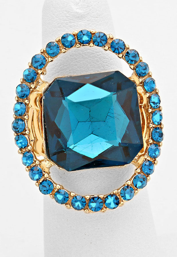 """Just a peek"" Emerald Cutout Teal Blue Zircon Crystal Rhinestone Pave Stretch Cocktail Ring On Gold Tone"