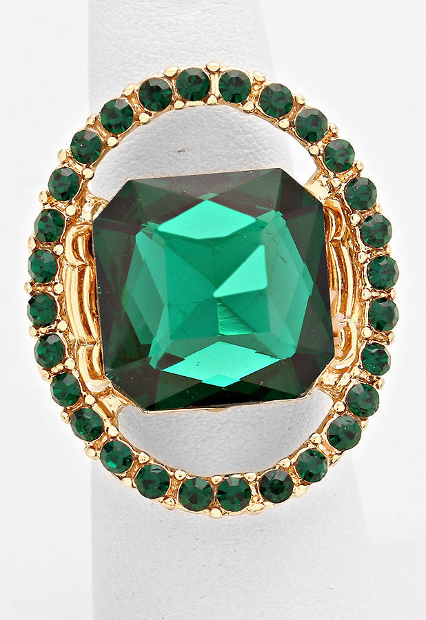 """Just a peek""  Emerald Cutout Green Crystal Rhinestone Pave Stretch Cocktail Ring On Gold Tone"
