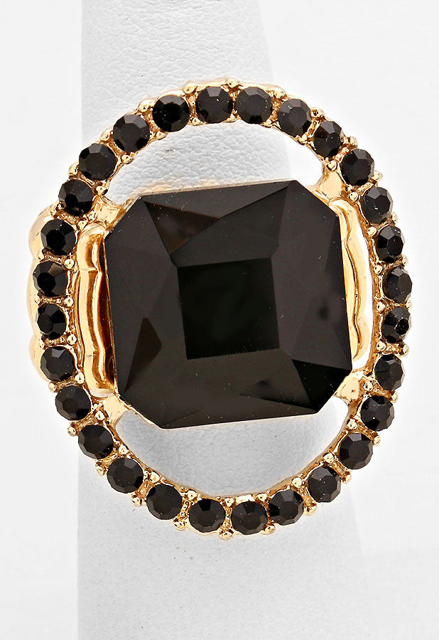 """Just a peek""  Emerald Cutout Black Crystal Rhinestone Pave Stretch Cocktail Ring On Gold Tone"