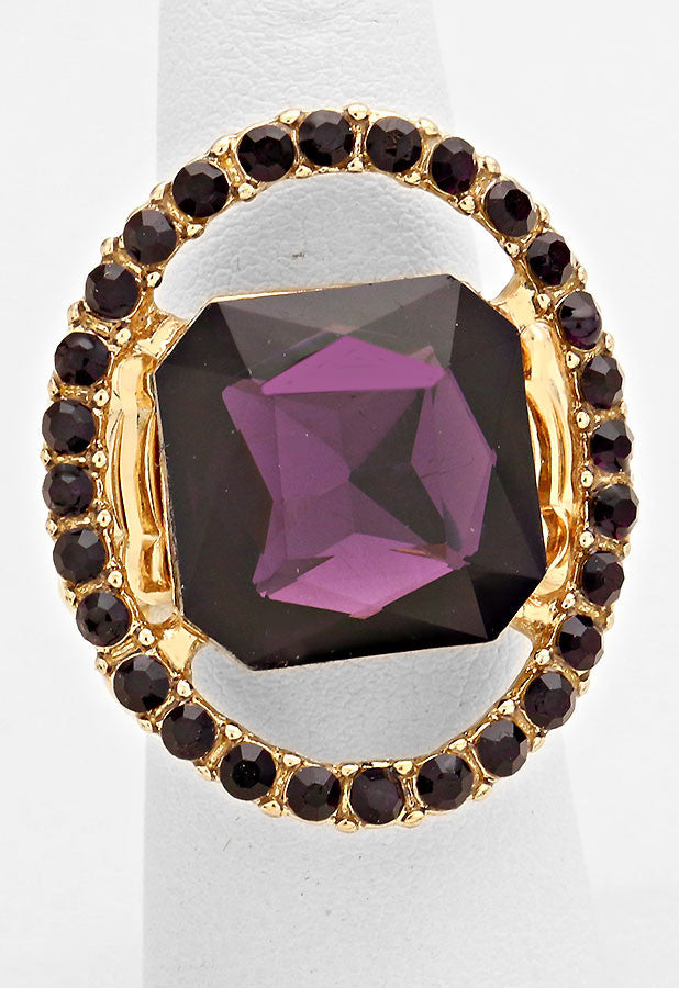 """Just a peek""  Emerald Cutout Eggplant Purple Crystal Rhinestone Pave Stretch Cocktail Ring On Gold Tone"