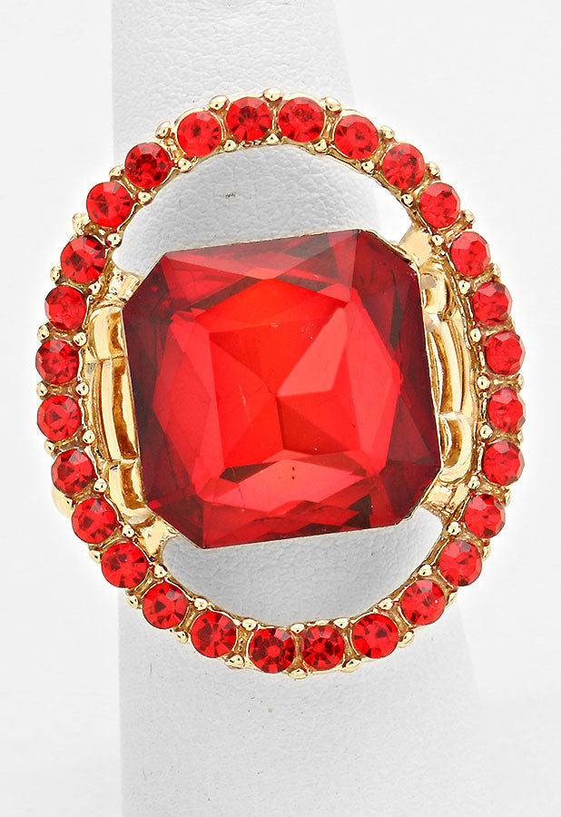 """Just a peek"" Ruby Red Cutout Watermelon Pinks & Greens Crystal Rhinestone Pave Stretch Cocktail Ring On Gold Tone"
