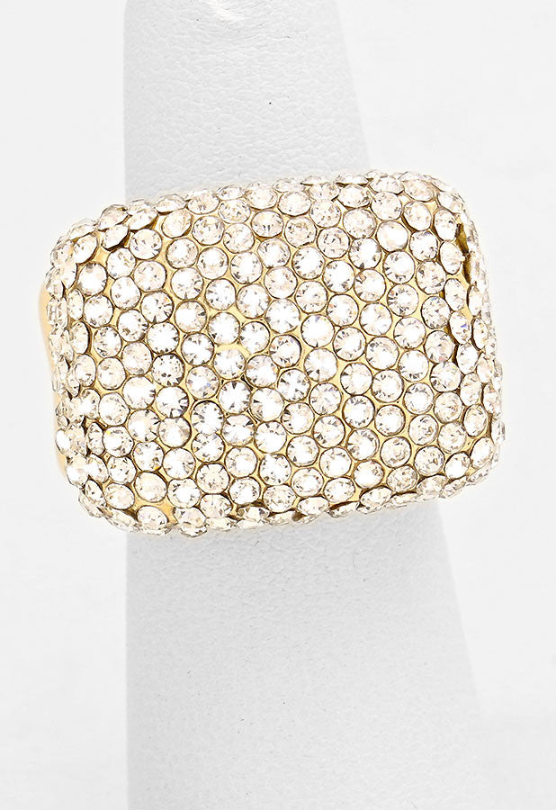 """ Pave the Way"" Pave Clear Crystal Rhinestone Pave Stretch Cocktail Ring On Gold Tone"