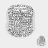 """On Fleek "" Multi Row Pave Clear Crystal Rhinestone Pave Stretch Cocktail Ring On Silver Tone"